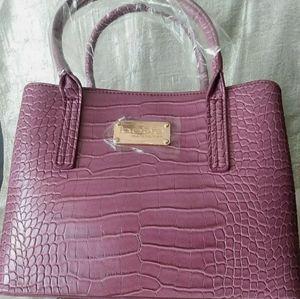 Bebe Aubrey Mini Croco Satchel Berry Handbag New